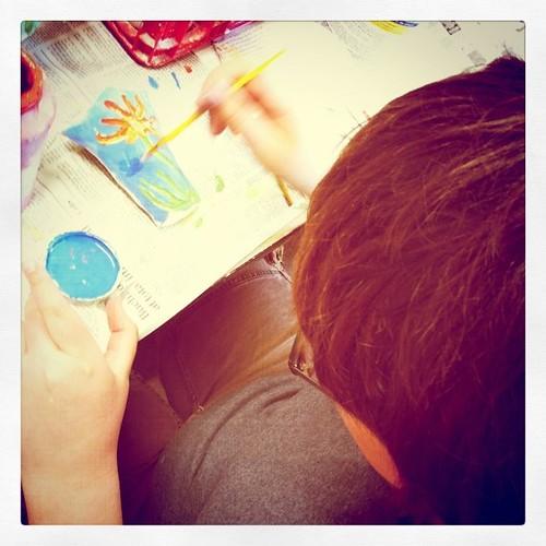 Adam in pottery class