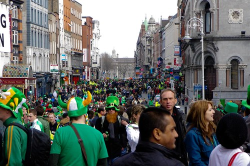 The Aftermath of 200,000 from the parade.. a flood of green