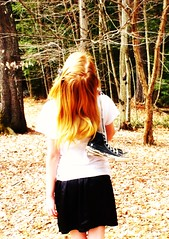 I hear voices over my shoulder. 161/365 (Johna_Howland) Tags: trees girl outside outdoors star all converse taylor blonde chuck mae allstar
