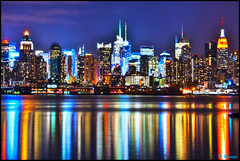 New York City (Moniza*) Tags: city nyc newyorkcity longexposure ny newyork reflection water skyline night skyscraper river geotagged newjersey cityscape manhattan illumination midtown explore nightlight esb hudsonriver empirestatebuilding gothamist bluehour unioncity hoboken weehawken gothamcity thebigapple westnewyork lightstream unionhill explored explorefrontpage moniza