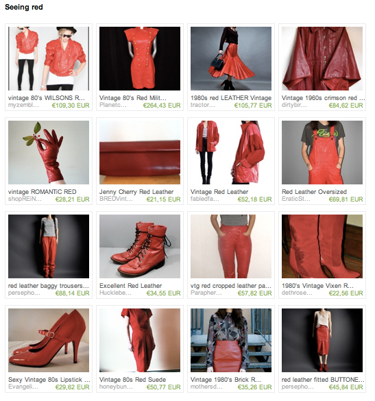 ETSY treasury red leather