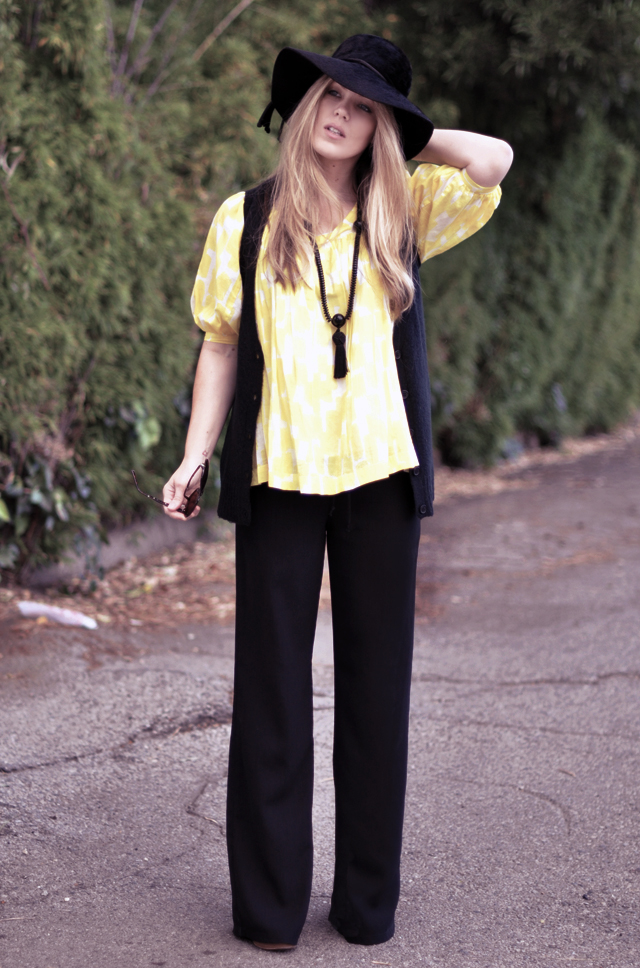 yellow  and black +  tassel and hat