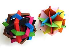 Makalu and UVWXYZ (Aneta_a) Tags: origami symmetry ow lang planar polyhedron polyhedra modularorigami robertjlang icosahedral polypolyhedra owsunit edgeunit simplepaper