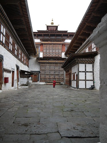 A lonely monk inside Trongsa Dzong