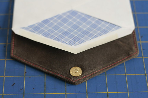 Envelope-themed pocket flaps