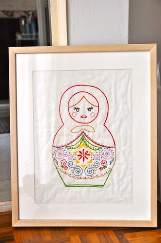 matryoshka embroidery framed