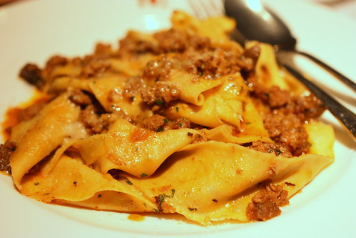 House-made egg pappardelle with veal, pork & porcini mushroom Bolognese, Sweet 100 tomatoes, rosemary & parmigiano