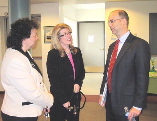 USDA Utilities Administrator Jonathan Adelstein discusses smart grid opportunities at Poudre Valley REA, Pictured left to right are:  Marie Secrest, District Representative for Representative Corey Gardner;  Mona Neeley, Colorado Rural Electric Association; and Administrator Adelstein.