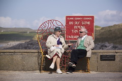 Old Lovers (claudiopro) Tags: county woman man bench clare heart bokeh lovers elderly promenade co lover oldies lahinch lehinch