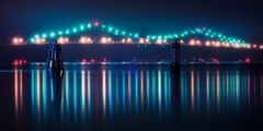 the Tappan Zee bridge (mudpig) Tags: longexposure bridge ny newyork reflection fog night geotagged multipleexposure hudsonriver gothamist piling hdr tappanzee tarrytown mudpig stevekelley