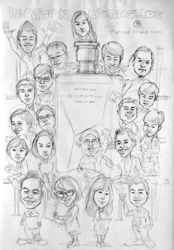 Group caricatures for Pernod Ricard Korea - pencil sketch