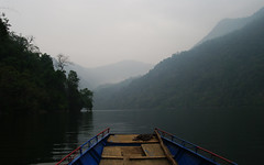 Sailing on Ba B lake (Gregor  Samsa) Tags: trees sky mist lake water fog clouds forest dark boat nationalpark pond silent babe silence mysterious waters ba melancholic babelake h bab b hbab hobabe bablake