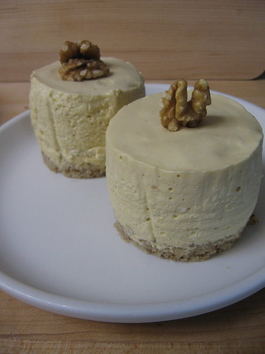 maple mousse with walnut-bourbon cake