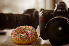 The Nikons were Hungry (Rachel De Stijl) Tags: edmonton chocolate cream sprinkles donuts flickrmeet april30 dayofthedonut rachelpressick