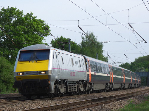 class 91 approaches to Brookmans Park Station