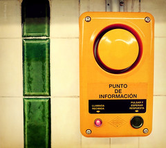 { Botn Tn } (Ges Rules ) Tags: madrid orange texture textura wall underground subway point pared spain metro push information naranja informacin lvm botn lavueltaalmundo