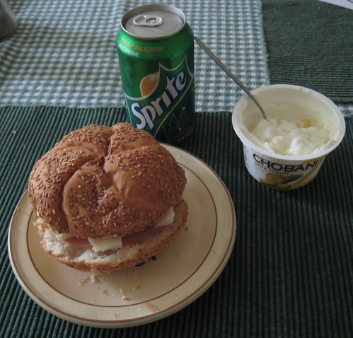 ham and cheese, pineapple chobani, sprite