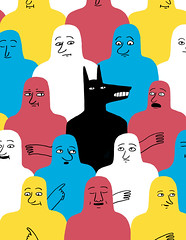 Digital Artist Poster Tutorial (Jack Teagle) Tags: people wolf pattern bright crowd scared naive simple bold blobs primarycolours digitalartist