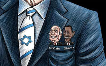 McCain Obama in Israel's pocket cartoon-thumb-425x266