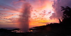 Spouting Horn Sunset #2 (Thorsten Scheuermann) Tags: ocean sunset sky usa water hawaii spray blowhole kauai spoutinghorn hi