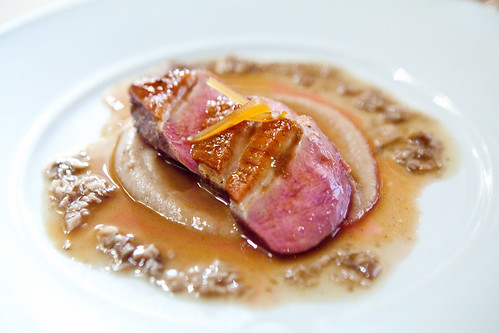 Third Course: Organic Long Island Duck Roasted with White Truffle Honey, Purée of Organic Dates and White Turnip
