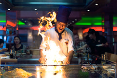 Sapporo Teppanyaki, Glasgow (TGKW) Tags: portrait people man cooking kitchen night asian fire japanese restaurant sapporo rice glasgow beef cook flame chef steak nightlife teppanyaki 8881