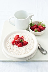 Strawberry and ricotta porridge (sarka b) Tags: white breakfast dessert strawberry honey ricotta porridge breakfastinbed