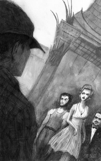 illustration for alfred hitchcock mystery magazine, by cat scott