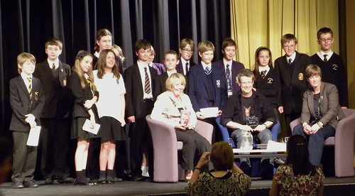 Prize winners at Sefton Super Reads with Mary Hooper, Jon Mayhew and Ellen Renner