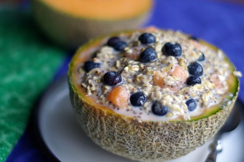 Blueberry and Cantaloupe Vegan Overnight Oats