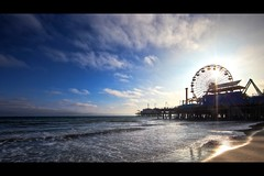 santa monica pier (Eric 5D Mark III) Tags: ocean california summer sky usa cloud seascape reflection beach canon landscape photography pier losangeles unitedstates santamonica wave wideangle ferriswheel sunburst ericlo ef14mmf28liiusm eos5dmarkii
