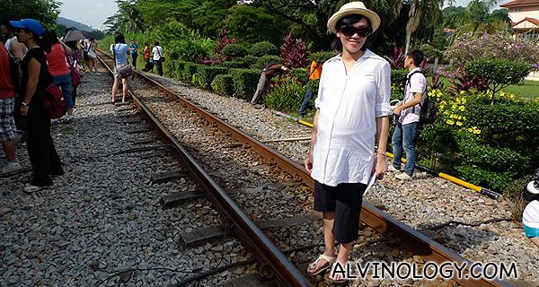 Rachel posing on the railway track