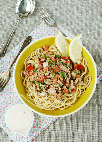Cold Spaghetti and Mediterranean Tuna Salad