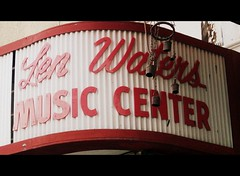 Len Waters Music Center (BlackAndBlueBeauty) Tags: music sign montana butte wide center uptown waters len