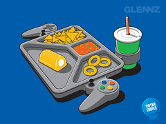 Continuous Gaming Tshirt (Glennz Tees) Tags: art nerd fashion illustration dinner design tv funny geek drawing humor cartoon tshirt gaming gamer tray illustrator draw popculture tee vector ai apparel adobeillustrator glenz glennjones glenjones glennz gleenz glennnz