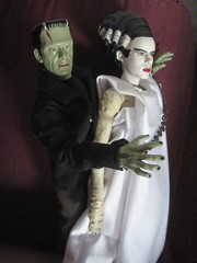 Frankenstein 's Monster with Elsa Lanchester as The Bride 3612 (Brechtbug) Tags: pictures new york city shadow portrait green film halloween strange face its monster 1931 movie studio toy toys james bride scary day moody shadows with action zombie mary s glen frankenstein hollywood figure horror terror type boris valenti