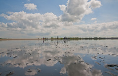 mirror walking (Be gemot) Tags: blue sky cloud color colour reflection nature netherlands strange beautiful clouds walking mirror nice interesting holidays flickr colore mud den award best colori helder olanda walkin fango camminare