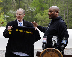 04-15-2015 Governor Bentley, Bo Jackson and Speaker Mike Hubbard at Clanton Storm Shelter