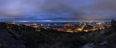 Duluth, MN (Sam Wagner Photography) Tags: sunrise dawn morning blue hour twilight colorful duluth minnesota lake superior panoramic pano enger park view vantage illuminated bright stitch
