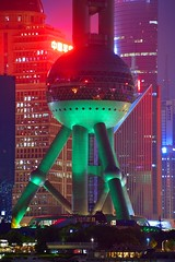 Shanghai - Green Legs (cnmark) Tags: china shanghai pearl orient pearloftheorient tv tower building night bright colored coloured light nacht nachtaufnahme noche nuit notte noite 东方明珠 东方明珠电视塔 ©allrightsreserved
