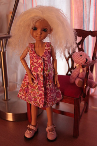 Renske in a dress designed for Sindy