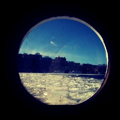 The view out of the porthole in my room on a boat in Stockholm. (\ Ryan) Tags: square sweden stockholm squareformat mlardrottningen iphoneography instagramapp xproii uploaded:by=instagram foursquare:venue=3620060
