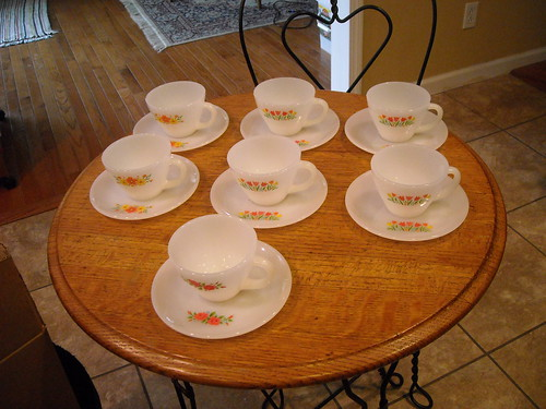 Fire-King Tea Cups + Saucers