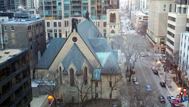 View from Omni Chicago into the Cathedral District
