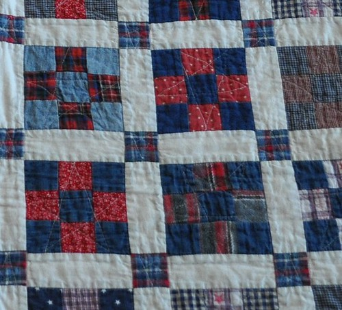 red/blue 9-patch quilting closeup