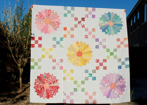 30s Irish Chain Dresden Plate Quilt Top