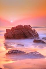 Sunrise (wisenicesam) Tags: sea india water sunrise canon rocks 1855mm vizag 50d wisenicesam