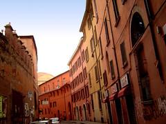 Bologna back streets (maralina!) Tags: street houses red italy colors architecture buildings warm italia colours couleurs maisons terracotta via bologna siena rue earthtones