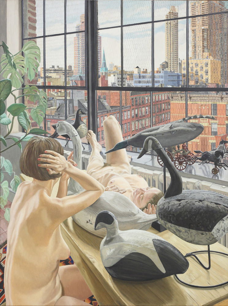 Philip Pearlstein, Two nudes with five decoys, 1989