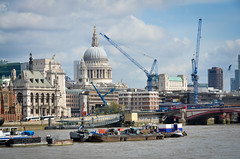 By the River (scuba_dooba) Tags: uk england london st thames river boats cathedral pauls cranes